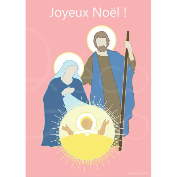 carte Joyeux Noël rose
