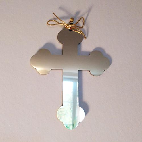 croix tréflée miroir doré