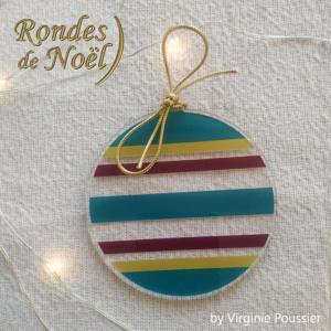 décoration rondes de Noël, Déco ronde, plate pour sapin de Noël