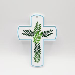 croix hosanna bleue, croix feuillage