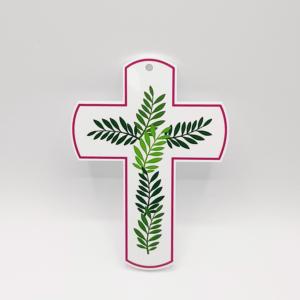 croix en plexiglass feuillage