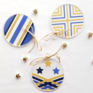 decoration ocre et bleu pour Noël